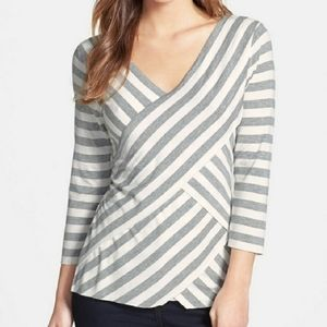 Vince Camuto grey stripe layered top